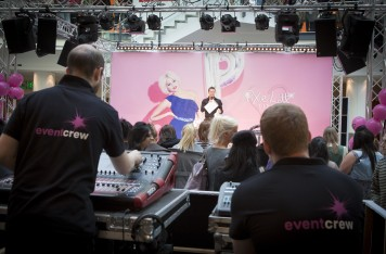 Pictured above is the set up for the launch of Pixie Lott's clothing collection at Lipsy. It includes the sound mixing desk, crew, staging, lighting and truss.
