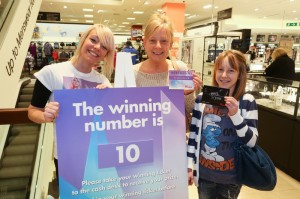 The picture depicts 3 smiling ladies in a retail store. One lady, the she store manager, holds the prize number, the other lady holds the winning ticket with the matching store number, and her daughter holds their prize, a gift card from the retailer.