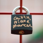 Close up of padlock attached to giant Valentine heart installation at Love Lock-In retail event, Cardiff