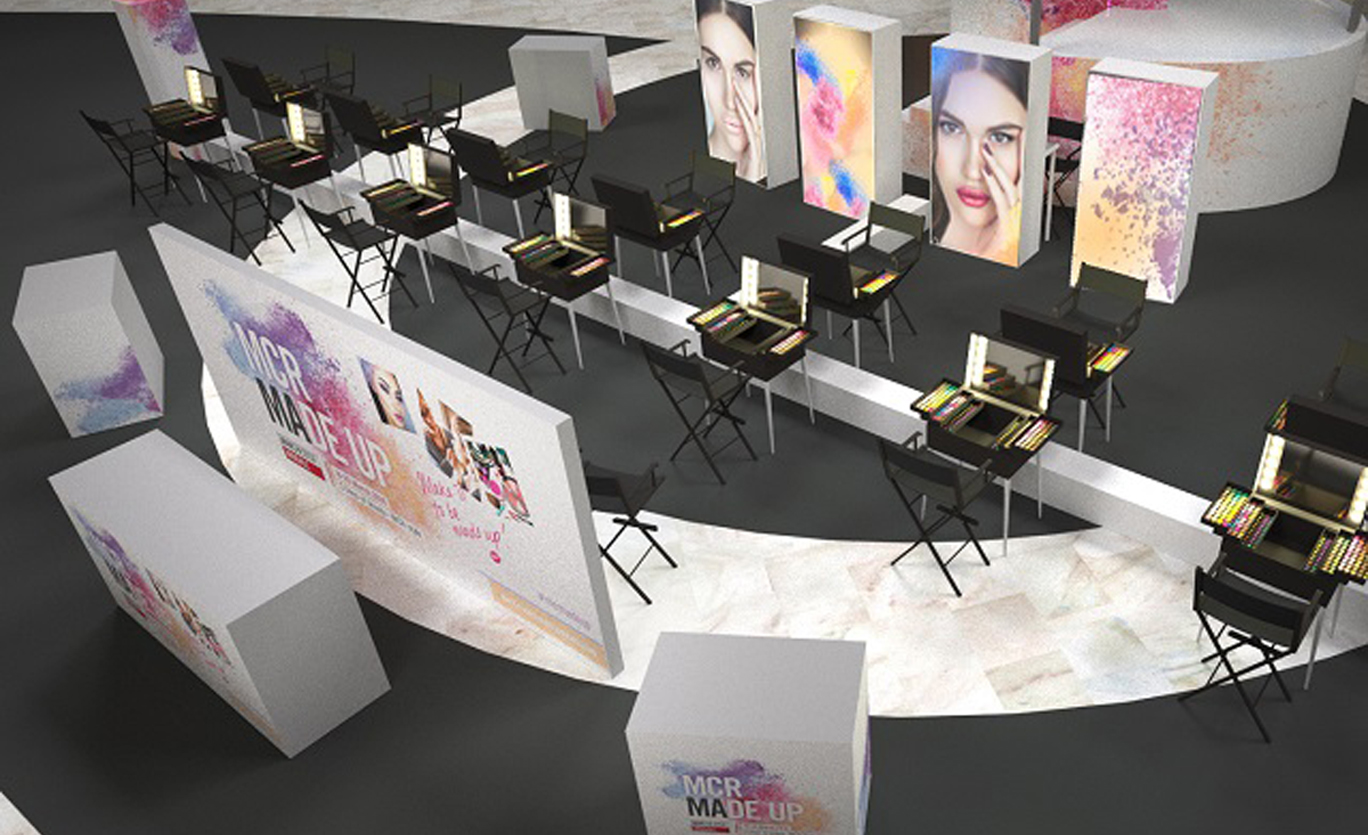 3D computer generated visualisation of temporary retail event space set up. Makeup stations are positioned in front of large video screen showing close up images of women wearing make up