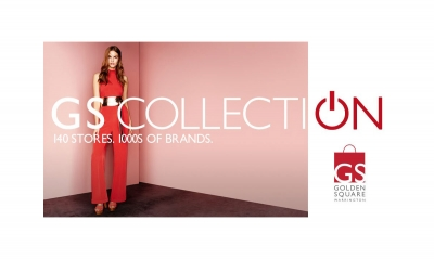 GS Collection event campaign logo shows fashion model wearing red jump suit.