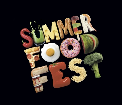 The words, 'Summer Food Fest' are displayed using food to graphically represent the individual letters