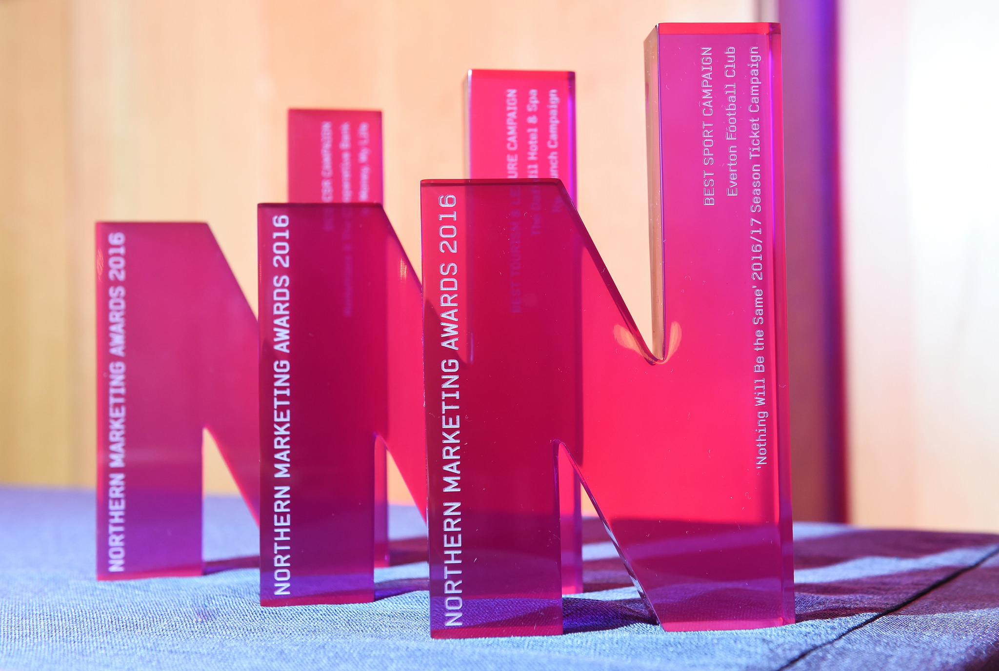 Close up picture of Northern Marketing Awards trophies lined up ion a table top.