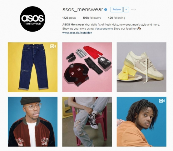 Screen shot of online retailer, Asos' Instagram social media account that is specifically aimed at men.