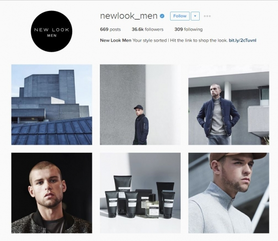 Screen shot of retailer, New Look's Instagram social media account that is specifically aimed at men.