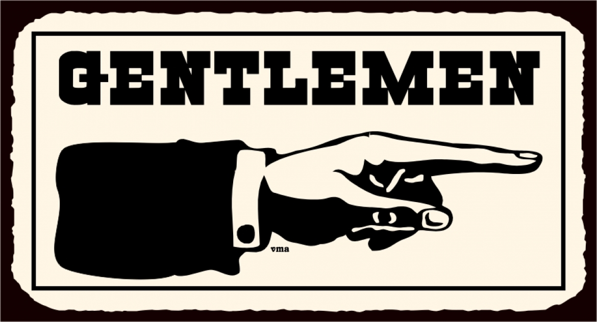 Vintage 'Gentlemen' sign with illustration of hand (and arm with suit sleeve and shirt cuff visisble) pointing right.