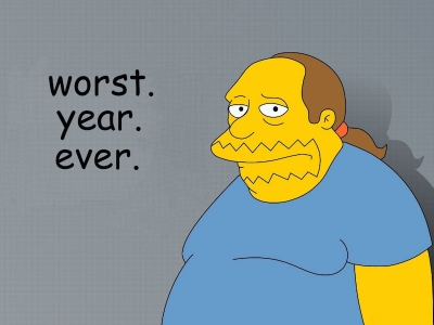 Cartoon character from TV show, The Simpsons looks towards camera with a sad expression. The caption reads, Worst. Year. Ever.