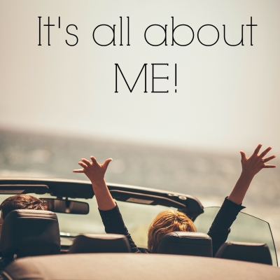 "Illustrating Personalisation and Customisation - Woman in open top car, joyfully throws her hands in the air. Text above the image reads, ""It's all about ME!"""