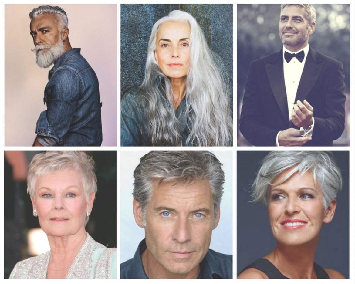 Photo collage of 6 good-looking baby boomers, including celebrities, Dame Judy Dench and George Cloooney.